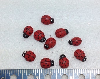 10 Wood Ladybug Flatbacks