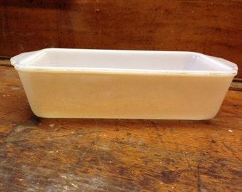 Vintage Mid Century Fire King Peach Luster Iridescent Milk Glass Loaf Pan / Casserole Dish