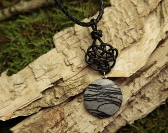 Leather knot No. 3 with Jasper gemstone pendant