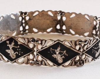 Vintage Siamese Sterling Silver and Niello Bracelet Jewelry