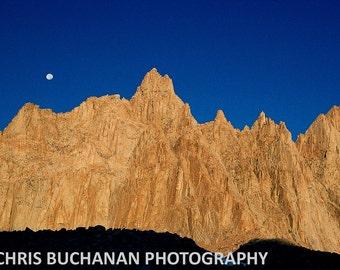 Moon Over Mt. Muir, Mt. Whitney Trail, High Sierra, California - Signed Fine Art Print