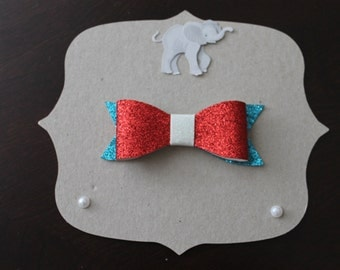 Red, White, and Blue Glitter Bow Hair Clip - Hairclip, Hair Accessory, Shimmer Bow