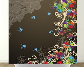 Modern Flowers and Birds Shower Curtain