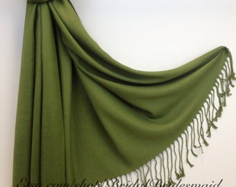 OLIVE GREEN PASHMINA - olive green shawl - bridal scarf - bridal shawl - bridesmaid gift - wedding gift - scarf - shawl - gift -