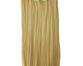 """22"""" Full Head Clip in Hair Extensions 8 pcs with 18 clips sandy blonde Straight shade 25"""