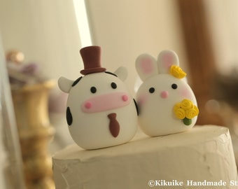 Bunny and  Cow  wedding cake topper