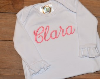 Personalized baby gown - baby name gown - embroidered baby gown