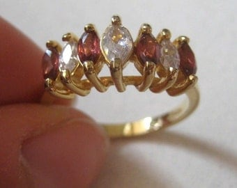 New Gold over Sterling silver multicolor Gemstone ring, size 8