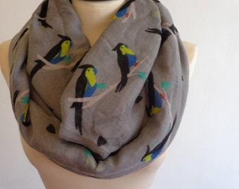 Bird print infinity scarf, winter scarf, bird scarf, print scarf women, loop scarf, grey scarf