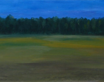 field of cereal, original oil, 20 x 30 cm, small paint painting nature