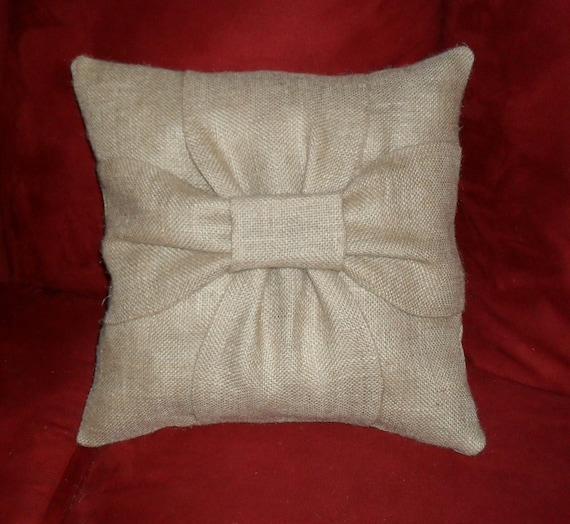 Burlap Bow Pillow Covers SHIP FREE