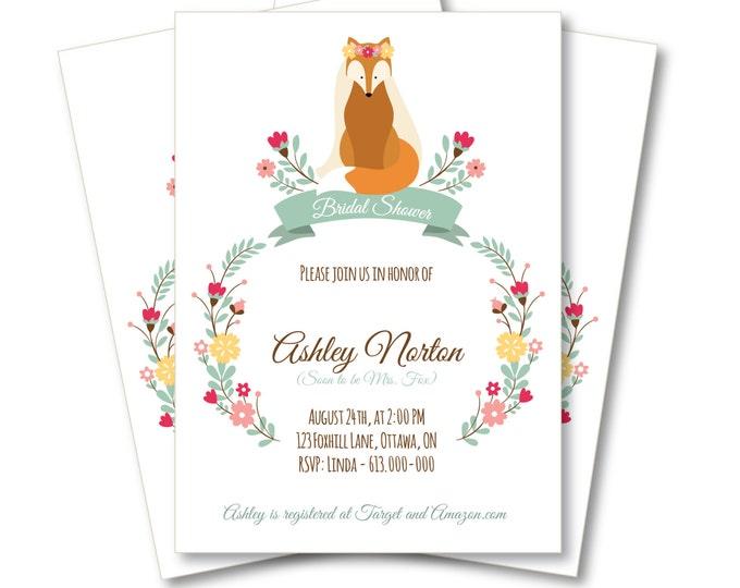 Fox Bridal Shower Invitation, DIY Customized Printable, Woodland Shower Invitation, Floral Fox Wedding