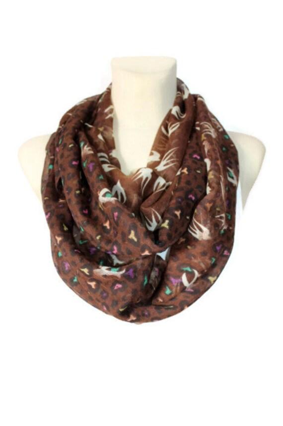 Infinity Bird Scarf - Brown Circle Scarf - Birds Print Scarf - Unique Fabric Scarf - Woodland Scarf - Women Fall Fashion Accessories - Gift