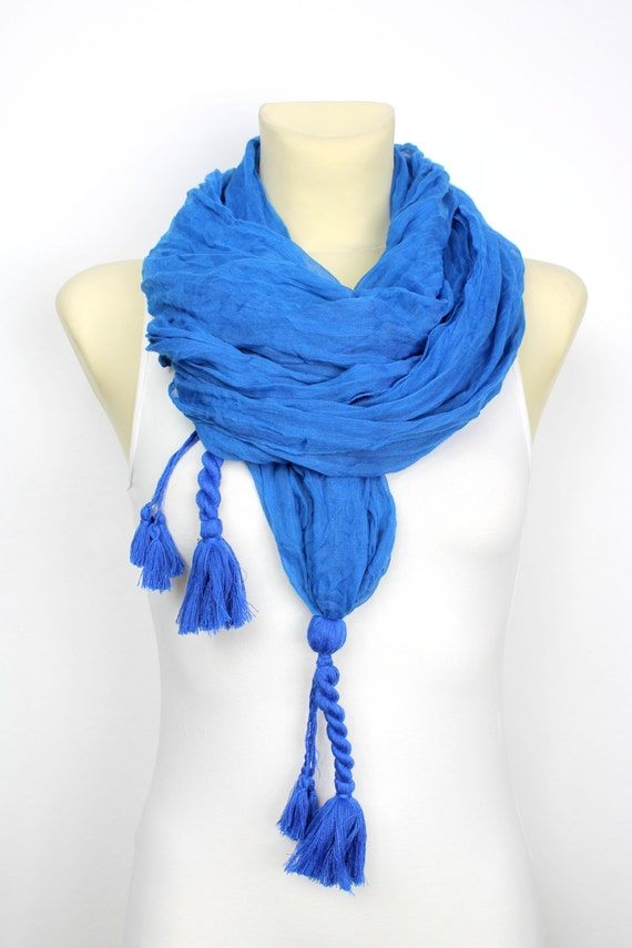 Breaded Fashion Scarf  Blue Fabric Scarf  Women Shawl  Unique Scarf  Fashion Scarf Fabric