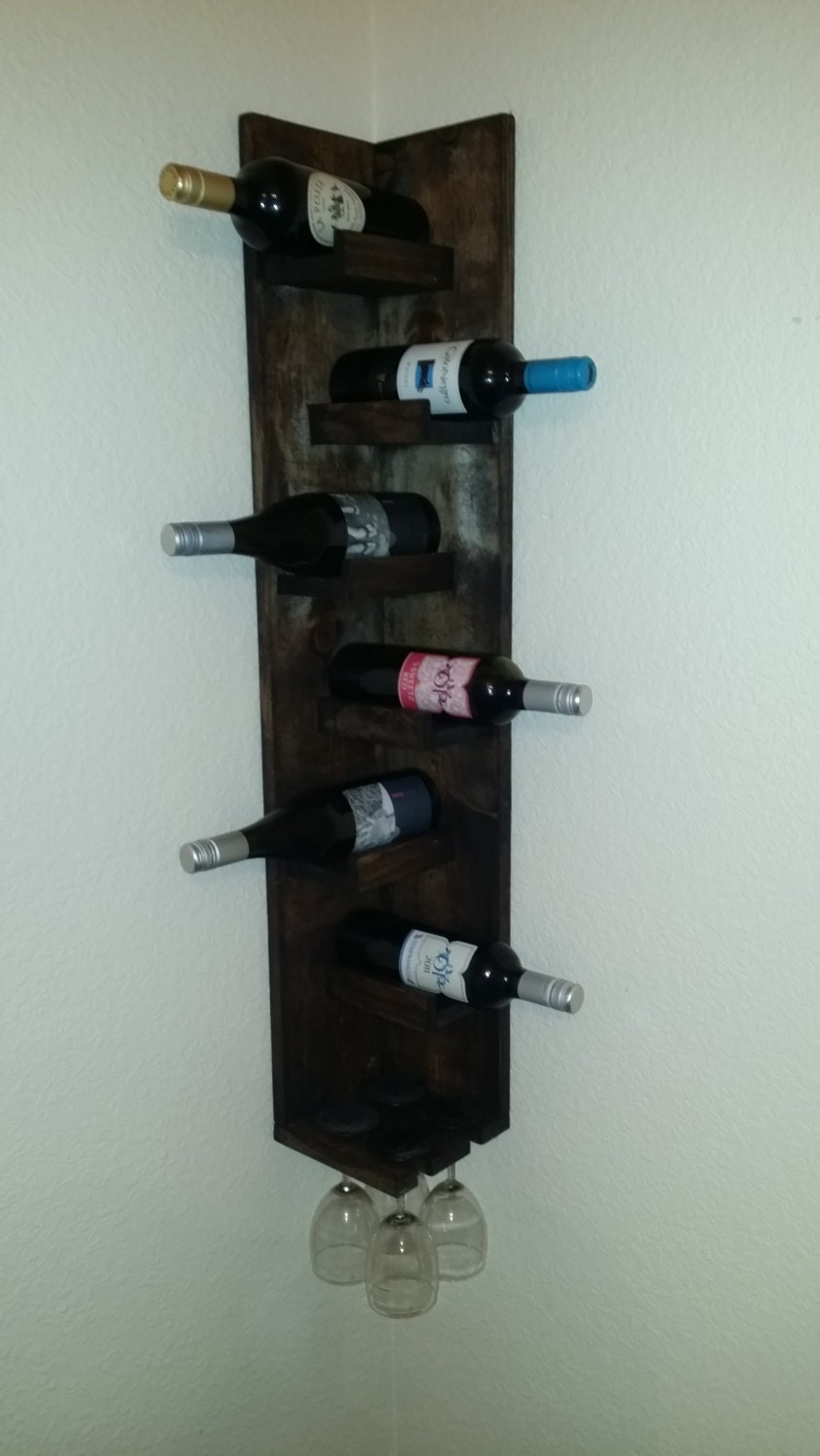 Corner Wine Rack With Glasses Holder Free Shipping