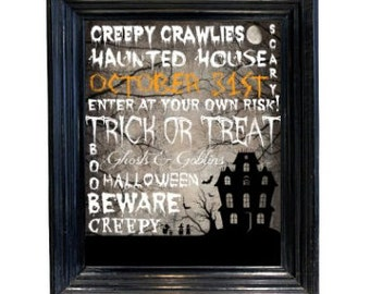 Halloween Decor October 31 Haunted House printable typograhy wall art picture  scary subway art 8x10 downloadable printable