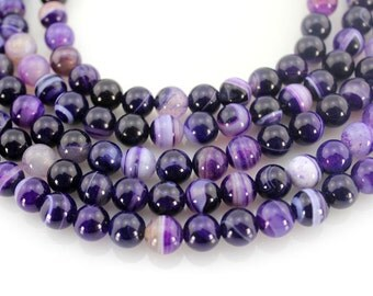 Deep purple agate Beads,Round Agate Beads, Agate Beads ,Gemstone Beads---About 47 Pieces---15inches---8mm---M006