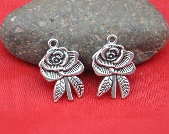 Flower charms ----15pcs Antique silver  Flower Charm Pendants  ---29*19mm--G318