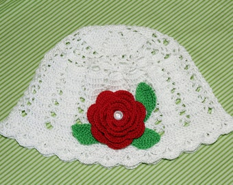 Ready-to-ship! Girls Crochet summer Beanie, Crochet Hat, cotton cloche, cotton hat, decorated with flower. Handmade.