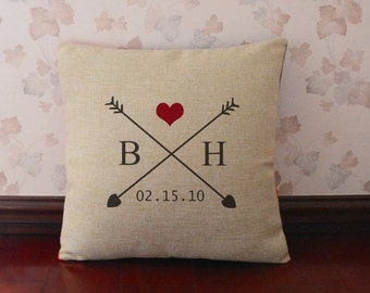 Love arrow pillow cover,Personalized monogram & wedding date,engagement gift,wedding pillowcase,wedding gifts for couple,burlap pillows#5045