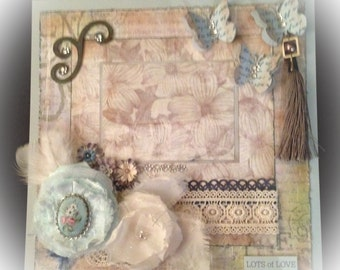 Pre-made Shabby Chic Scrapbook Layout.