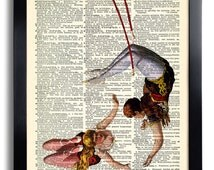 Acrobat Woman Circus Acrobats Art Print Poster Vintage Book Print Recycled Vintage Dictionary Page Collage Repurposed Upcycled gift  001