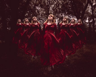 Surreal Girls in Vintage Red Dress Following Fine Art Print