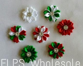 1.5 Satin Flowers- Christmas - supplies- Fabric Flowers- Rosette- Hair bow Supplies