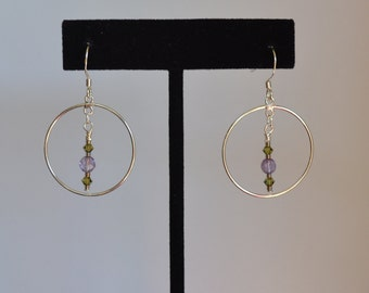 Sterling silver, faceted amethyst and Swarovski crystal wire wrapped earrings.
