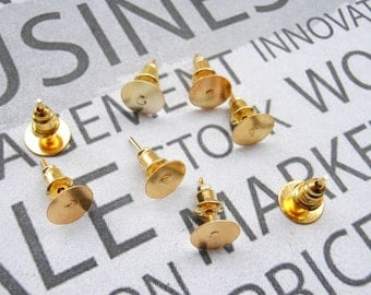 200pcs Gold Surgical Steel Stud Earnuts and 8mm Flat Pads,Gold Earring Posts with Back Stoppers