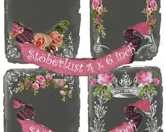 4 Postcards chalkboard dark grey, frame , roses crown instant download, DIY scrapbooking, Cards iron on transfer