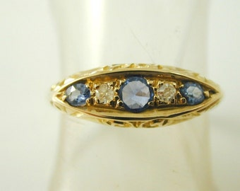 Ceylon Sapphire And Diamond Ring Art Deco 18ct Gold Size O 1/2 Dated 1915 0.23 Carats