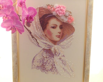 """Cross stitch picture """"Lilac evening"""" Lady in hat Victorian woman cross stitch picture home decor Embroidery wall decor Gift Present"""