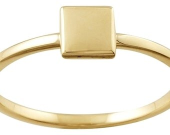 Designer 14K Yellow Gold Stackable Ring with Square Accent by BrianG @ BrianGdesigns