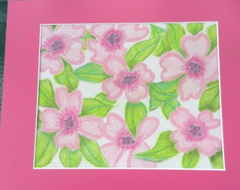 Hot Pink Violas  matted 14x11  #3034