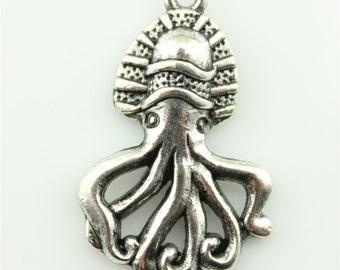 30pcs 28×18mm Octopus charms antique silver tone Octopus Pendant B10097