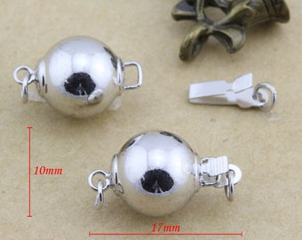 Box Clasp,Necklace Clasp,Rhodium plated Connector,10x17mm 10set