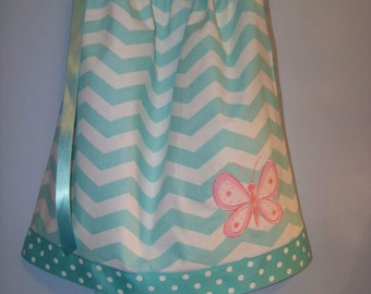 Chevron Pillow Case Dress with Initial or Butterfly
