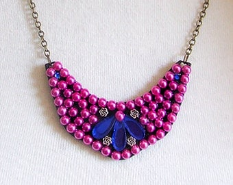 Blue & Pink Pearl Beaded Pendant Necklace