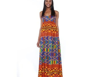 Colourful maxi dress, Kente print maxi dress- African Print Dress- Long African Print Dress- Kente Maxi dress, Orange,red and blue dress
