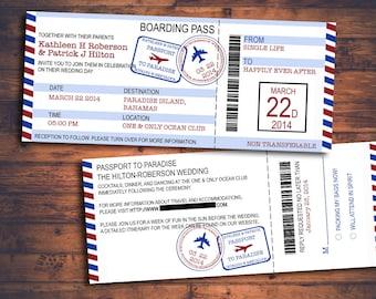 Destination Wedding Plane Ticket Invitation