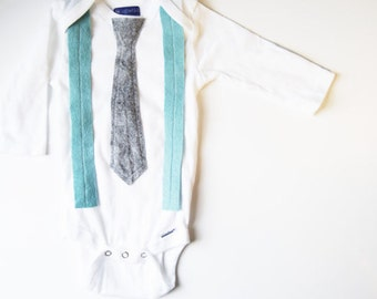 Baby Boys Outfit Pale Blue Tie and Gray Suspenders Tie Outfit . Mr. Milton