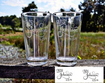 Personalized Pair of Etched Pint Glasses - Mr and Mrs Last Name - Wedding Gift - High Quality Laser Engraved 16oz Beer Pint Glasses