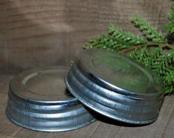 "2 Galvanized JAR LIDS - 3"" Lid - fits Regular / Standard Mouth Mason Jars"