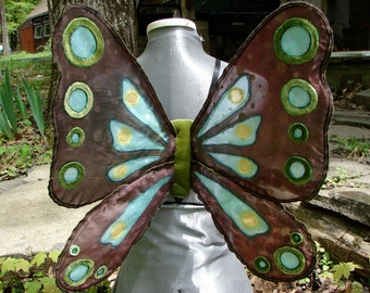 Brown and turquoise cutwork Woodland Fairy wings