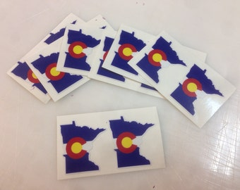 "Mini Colorado Flag in the shape of Minnesota 1.5"" Decal"