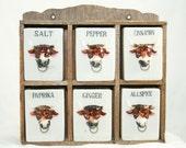 Bulls With Nose Rings Spice Rack - Display Shelf - 1950s - Salt Pepper Cinnamon Paprika Ginger Allspice