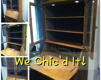 Shabby Chic Antique Secretary Desk w/Built-In LED Lights