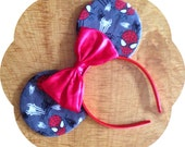 Mouse Ears made with Spider-man Fabric