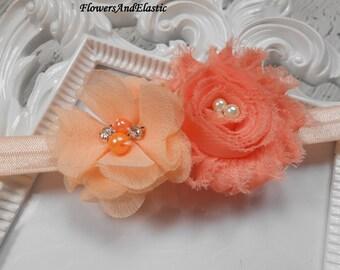 Peach flowers Baby Headband, Newborn Headband,  Infant Headband,Baby Headband, Headband Baby, Baby Headband